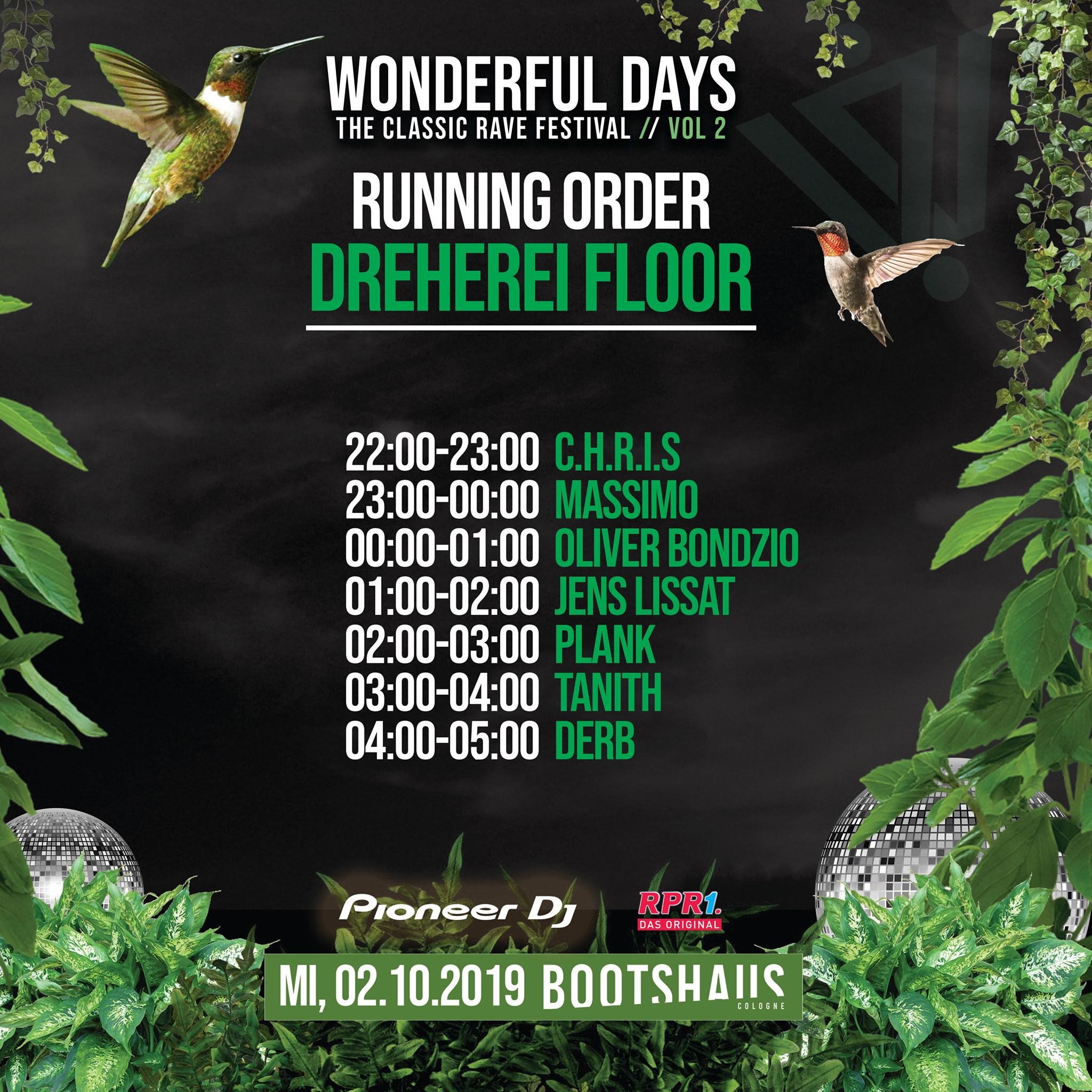 Wonderful Days – The classic Rave am 2.10.2019, Lineup des Dreherei Floor