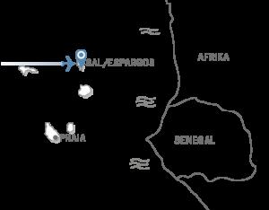 Die Landkarte zeigt die Position des Robinson Club Cabo Verde